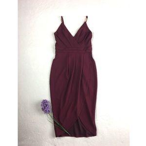 NEW Burgundy Spaghetti Strap Envelope Formal Dress